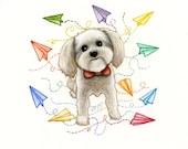 Puppy portrait 7x7inch original watercolor painting