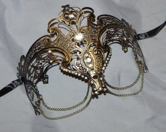 Antique Gold Metallic Masquerade Mask with Chain Accents