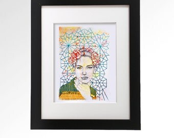 Embroidered portrait by Ashley Hoey.  Original art. Mixed media. Graphite drawing