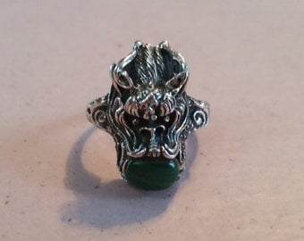 Vintage Asian Sterling Silver and Malachite Dragon Size 5