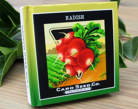 Small Garden Journal Card Seed Radish Seed Packet Art Print