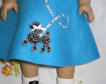 Poodle Skirt Costum (Select from  5 colors) with White Blouse for any 18 inch or American Girl doll
