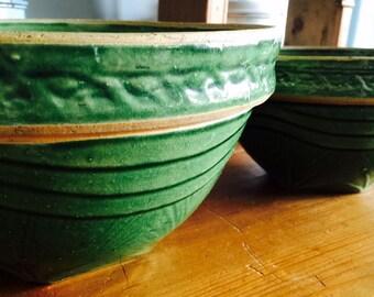 McCoy Green Sunburst Bowl Set circa 1920s Vintage Kitchen
