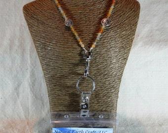 "Bright orange carnelian ID badge holder 32"" long lanyard tibetan silver spiral sun July semiprecious stone jewelry in a gift bag 1520"