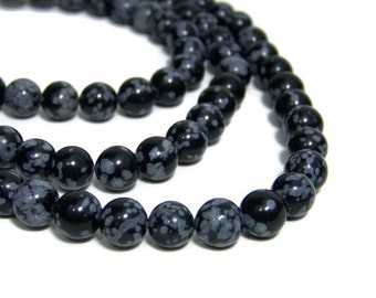 Snowflake Obsidian 8mm round natural gemstone beads, full & half strands available (540S)