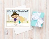 Texas Wedding Save the Dates  ~ Starring You and Your Groom as a Cartoon!