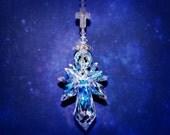 The ORIGINAL Big QUADRUPLE Winged AB Guardian Angel w/Cross Suncatcher Car Charm Home Ornament mw Swarovski® Crystal, Pearl Place N More