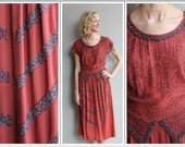 1940s Dress // Beaded Coral Rayon Dress // vintage 40s dress