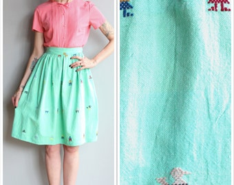1950s Skirt // Guatamalen Embroidered Skirt // vintage 50s skirt
