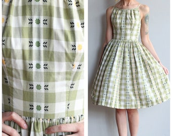 1950s Dress // Gingham Plaid Irene Dress // vintage 50s dress