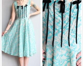 1950s Dress // Silver Leaf Party Dress // vintage 50s dress