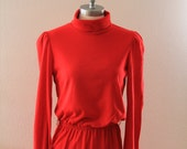 Red Turtleneck Dress with back zip and elastic waist We3Ltd New York