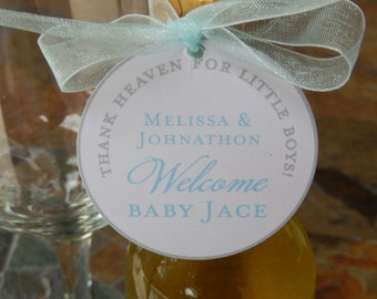 "25 Mini Wine Bottle Custom 2"" Favor Tags - Welcome Baby Tags - Thank Heaven for Little Boys and Girls - Thank You Gift Tags - Printed Tags"