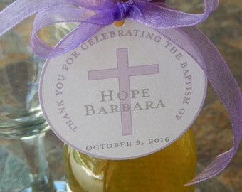 "Baptism Custom Thank You 2"" Favor Tags - For Mini Wine or Champagne Bottles - Cookies - Catholic Party Favors - (60) 2"" Printed Gift Tags"
