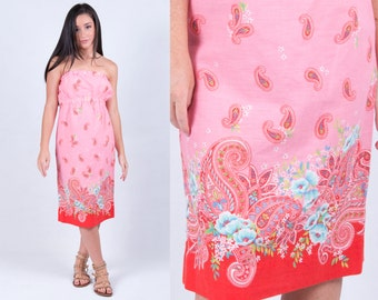 Vintage Upcycled Reworked Coral Red Paisley Floral Strapless Sundress // Size Small // FREE SHIPPING