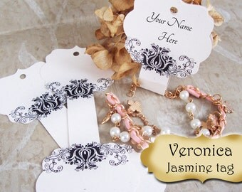 36•Veronica Design•Jasmine•Hang Tags• 2x5 inch•NECKLACE HOLDERS•Fold Over Tags•Jewelry Tag•Necklace Tag•Bracelet Tag