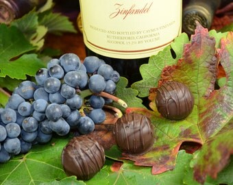 Chocolate Wine Truffles, Zinfandel, Wine Truffles, Dark Chocolate, Truffles, Wine Chocolate, Chocolate Wine, Gifts for Him, Hostess Gift