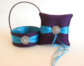 Custom Wedding Ring Pillow and Flower Girl Basket - Peacock wedding