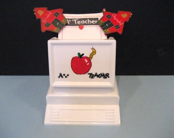 Hand Painted Personalized Mail /Desk Organizer for Teachers with Pad, Pencil & Graded/Ungraded clips