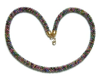 Kumihimo Multi-Color Necklace with Gold Clasp