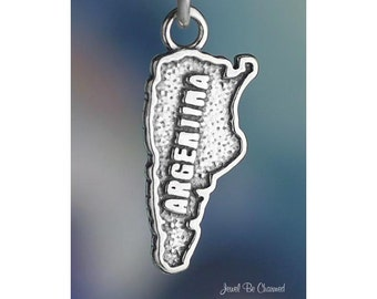 Argentina Charm Sterling Silver Argentinian Country Travel Solid .925