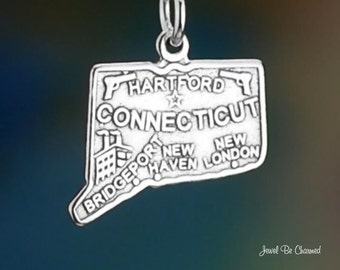 Sterling Silver Connecticut Charm State America USA Hartford Solid 925