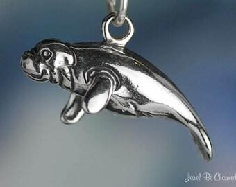 Sterling Silver 3D Manatee Charm Beach Ocean Manatees Solid .925