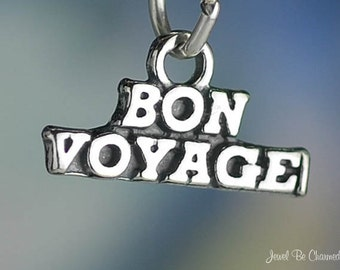 Sterling Silver Bon Voyage Charm Boat Cruise Ship Vacation Solid .925