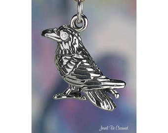 Sterling Silver Crow or Raven Charm Crows Bird 3D Solid .925