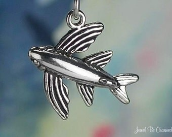 Flying Fish Charm Sterling Silver Fishing Ocean Theme 3D Solid .925