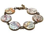 Custom Vintage Map Bracelet. You Select Six Worldwide. Map Jewelry. Travel Map Jewellery. Location Bracelet. Travel Bracelet. Charm Bracelet