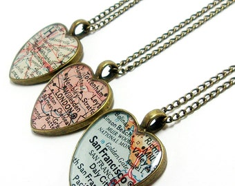 Custom map necklace etsy custom vintage heart map necklace you select location anywhere in the world one gumiabroncs Image collections