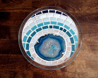 Mosaic Trivet - Candle Holder, Agate Slice, Jewelry Tray, Glasswork, Mosaics