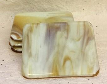Amber Glass Coaster Set
