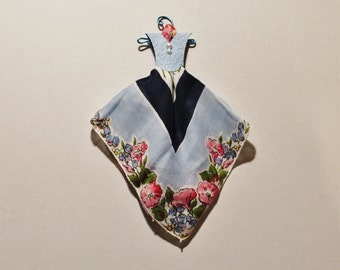 Vintage Hanky Dress blue and pink floral hanky with blue embossed bodice