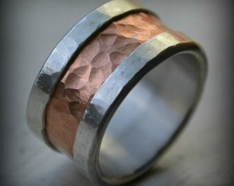 mens wedding band - fine silver and 14K rose gold ring - handmade artisan designed rustic wedding band - customized - Maggi Designs