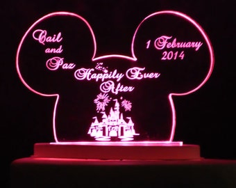 Mouse Ears Cake Topper -  Acrylic -Personalized - Light Option