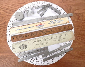 Vintage Rulers and Other Measurement Aids - 13 Piece Set of Vintage Advertisments
