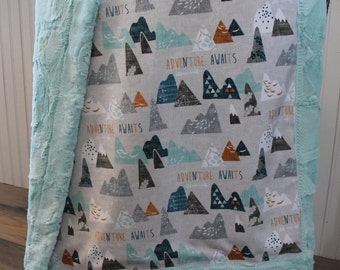 Baby Blanket, Ships Today- Minky baby blanket, Mountain minky baby blanket, all Minky blanket 30 x 39