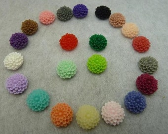 10 pc  Mixed Color Flower Cabochon/ 10mm Cabochon/Flat-Back Cabochon/ Resin Cabochon/CH5463