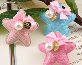 6 pcs x Cute Stars with Ribbon Bows and pearls Applique,Hair Bow Supplies, Hair clips embellishment, 3 color choices