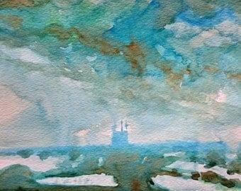 Winter Over Romney Marsh 2; Original Watercolour Painting