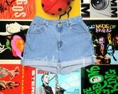 High Waisted 90s Denim Shorts, Light Wash Blue Jean LIZ CLAIBORNE Cut Offs, Frayed, Naturally Distressed, High Rise High Waist Size 8 M