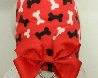 Puppy Bone Print Frenzy Black Red with Bow/Lace Harness. Perfect Item for your Cat, Dog or Ferret. All Items Are Custom Made For Your Pet.