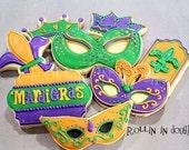 Mardi Gras Cookies, Mardi Gras Cookie Assortment, Mardi Gras - 1 Dozen