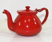 Vintage Red Enamel Tea Pot