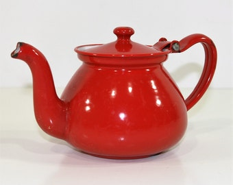 Vintage Red Enamel Tea Pot