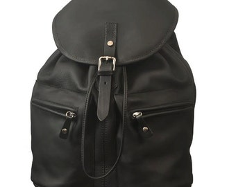 Backpack Handmade, unisex, made in Matte black leather ,named Iossif