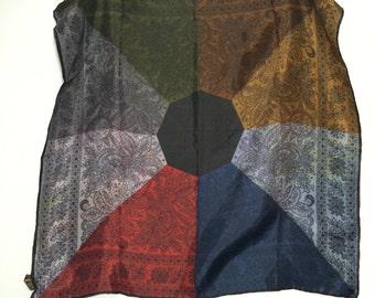 Vintage 70s Multi Color Scarf // Geometric Paisley Print