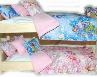 Double Doll Bunk Bed - FAIRIES Faries FAIRIES! American Made Girl Doll Bunk Bed - Fits 18 inch dolls and AG dolls